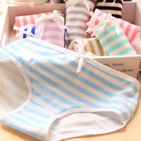 Wholesale Striped Panties - 2017 Women Underwear Panties Girls Cotton Striped Navy Bow Lovely Briefs Ladies Low Rise Underpants Wholesale