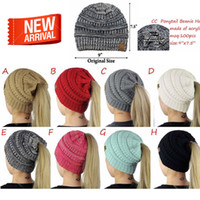 Wholesale Tattoo Street - Hot 8-color Lady CC Tattoo Cap Hat CC Knitting Fashion Girl Winter Warm Pony Hat