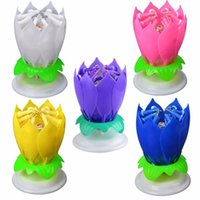 Amazing Romantic Musical Lotus Rotation Happy Birthday Wedding Candle Magical Sparklers pour la fête avec livraison gratuite