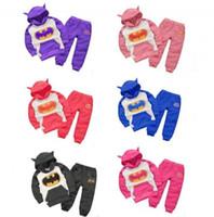 Wholesale Cashmere Baby Pants - 2 PCS set new children's clothing apparel batman costume children hoodies + child baby cashmere garment pants children clothes