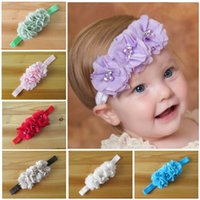 Горячие 2017 Baby Girls Kids Cute Chiffon Flower Pearls Hair Bands Vintage Flowers Аксессуары для волос Pretty Headbands Infant Headbands 10 Color