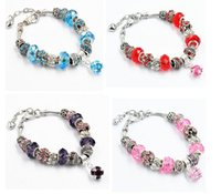 Wholesale Fashion Styles Silver Plated Daisies Murano Glass Crystal European Charm Beads Fits Charm bracelets Style Bracelets DIY Jewelry For Women