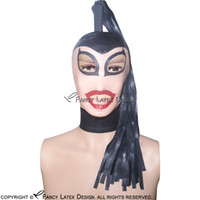 глаза пони оптовых-Черный сексуальный латекс капюшоны хвост парик волосы молния на спине открытый рот глаза нос пони хвост резиновые маски с прозрачным лицом красные крышки TT-0036