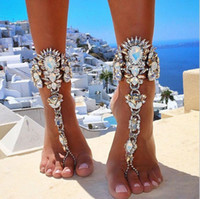 Wholesale white gold chain anklets - Ankle Bracelet For Beach Vacation Sandals Sexy Leg Chain Female Crystal Anklet Foot Jewelry Pie Leg Crystal Anklet