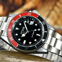 Wholesale Mce Black - Luxury MCE Mens Business Watch Automatic Stainless Steel Mechanical Watches With Complete Calendar For Men Free Shipping
