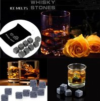 Wholesale whisky set - 900pcs 100set High Quality Natural Stones 9pcs set Whisky Stones Cooler Soapstone Ice Cube With Velvet Storage Pouch2045