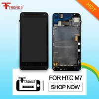 Wholesale M7 Lcd - High Quality AAA+++ LCD for HTC One M7 LCD display touch screen digitizer assembly frame black silver with Repair Tools
