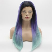 Iwona Hair Straight Long Dark Root Purple Light Blue Ombre Wig 2 # C005 Half Hand Tilé à la chaleur avec une perruque synthétique en dentelle