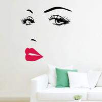 quarto de banho sexy venda por atacado-Lábios Vermelhos Sexy Adesivos Sala de estar Quarto Fundo Removível Adesivos de Parede Art Decalques Casa Decorações Mural