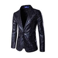 terno de impressão leopardo para homens venda por atacado-Atacado-Novo vestido Blazer Men casamento vestido de terno casaco Mens Slim vestido Blazer leopardo impresso paletó jaqueta trajes casuais jaqueta