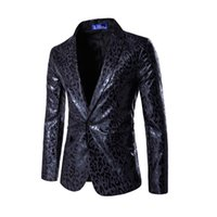 Wholesale Leopard Print Jacket Mens - Wholesale- New dress Blazer Men Wedding Dress Suit Coat Mens Slim Dress Blazer Leopard Printed Suit Jacket Stage Costumes Casual Jacket