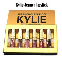 Wholesale One Birthday - Gold Kylie Jenner lipstick Cosmetics Matte Lipstick Kylie Jenner Kit Kylie Jenner Birthday Edition Lipstick 6 pcs in one kit