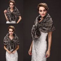 Wholesale Elegant Wedding Shawls - Elegant Faux Fur Bridal Wraps Brown Color Wedding Bridal Wrap Women Shawl For Special Occasion Wedding Shawl Free Size for Winter