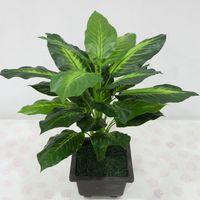 yapay yeşil bush toptan satış-Toptan-50 CM Dökmeyen Yapay Bitki Bush Saksı Bitkileri 25 Yapraklar Plastik Yeşil Ağaç Ev Bahçe Gerçekçi Dekorasyon