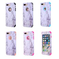 3in1 Rock Marble Hybrid Case pour Iphone 7 Plus 6 6S SE 5 5S Shockproof Hard Plastic + TPU Armor Granite Silicone Stone Skin Back Cover Pattern