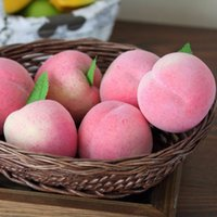 Wholesale Wholesale Fake Fruits Vegetables - 10pcs Mini Peach Foam Artificial Fake Fruit Vegetable For Home Wedding Cognitive Toy Dining Table Christmas Decorations Mold