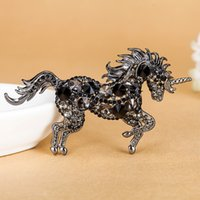 Wholesale Antique Horse Pin - Fashion Horse Broches Fine Women's Vintage Jewelry Perfect Rhinestone Hijab Accessories Noble Antique Gold Animal Pin Brooch Man
