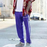 Wholesale Purple Stripe Sweater - PALM ANGLES Style Sweater pant Gosha Rubchinskiy Vetements 2017 ASAP rocky Graphic Embroidered Side Line Jogger skateboard Pants Purple Blac