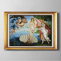 tuval resim setleri toptan satış-Venüs'ün Doğuşu, Zarif tarzı Çapraz Dikiş Iğne Setleri Nakış kitleri tuval üzerinde baskılı sayılan DMC 14CT / 11CT