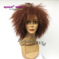 Wholesale Short Curly Synthetic Hair - Short Afro Fluffy kinky Curly Hair African American Wigs Synthetic Heat Resistant Black or Red Brown Color Hair Wigs for Black Women