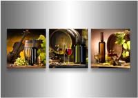 ingrosso mani libere africane-3 pezzo di arte della parete moderna astratta grande autunno economico foglie di acero legno dipinto ad olio su tela decorazione della casa incorniciato