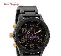 relógios venda por atacado-Men's A083-1041 Relógios de quartzo THE 51-30 CHRONO Matte Black + Gold Dial Black Steel Strap CHRONOGRAPH Original Caixa A0831041 + caixa original
