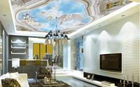 Wholesale Paradise Papers - custom 3d sky ceiling wallpaper Angel kingdom paradise 3d ceiling wallpaper living room landscape wall paper