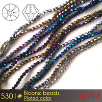 Wholesale Spike Beads Earrings - glass beads bracelet necklace and earring diy beads Bicone Beads 4mm Plated Colors A5301 120pcs set dicount price