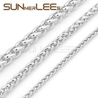 Wholesale Mens White Gold Necklace Chains - 3mm 5mm 7mm Mens Womens Jewelry Gift Wheat Style Link Chain White Gold Filled Necklace C02 WN