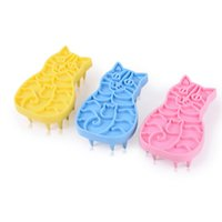 Wholesale Rubber Brush For Dogs - 3 olors Funny Kitty Pattern Non-toxic Massage Comb for Dog Cat Good Quality Rubber Pet Bath Brush Funny Pets Cleaning Tools