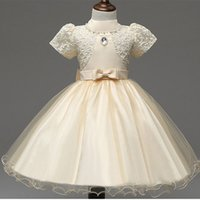 Wholesale Shorter Wedding Dresses For Boat - 2017 Girls Dresses Applique short sleeve Kids Lace Clothes Wedding Party Dress For Girl Summer Children's Princess Dresses 2-7Y