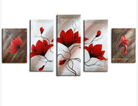 Wholesale Acrylic Picture Frames Wall - Handpainted Red Flower Oil Painting Huge 5 Panel Wall Pictures For Living Room Acrylic Floral Paintings Home Decor Canvas Art