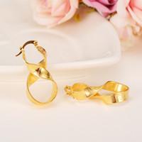 afrikanisches gold gefüllt großhandel-African Ohrringe Frauen 18k Gelb Solid Gold gefüllt Nummer 8 Lucky Ohrringe Infinity Schmuck, äthiopisch / arabisch / Mittlerer Osten Nigeria