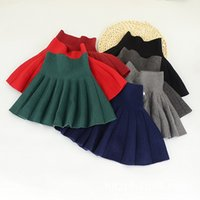 Wholesale Cheap Knitting Wool Wholesale - Pleated Knit Skirts for girls High-waist Solid wool Skirt Girls clothing Sweet Preppy style Red Cheap quality clothing 2017 Fall Winter