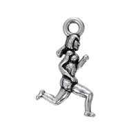 Wholesale Personalized Runner - Personalized High Quality Lead Free Nickle Free Tibetan Silver Plated Women Runner Sports Charms For DIY Jewelry
