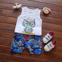Wholesale Korean Style Owl Clothes - 2017 Korean new styles Hot selling girl Summer 2 pieces cute set Owl cartoon suits of the girls T-shirt + short clothing free shipping