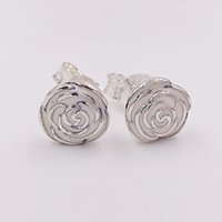 Wholesale European Style Garden - Authentic 925 Sterling Silver Studs Silver Rose Garden Earring With Pink Enamel Fits European Pandora Style Jewelry