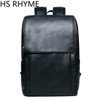 Wholesale Backpack Middle School - Wholesale- HS RHYME Korean Man PU Leather Backpack Male New Style Junior Middle School Students' Leisure Travel Backpack Bag