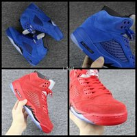 Wholesale Bulls Balls - 2017 Cheap 5 V Raging Bull Red Royal Suede Blue Mens Basketball Shoes Sports Sneakers Trainers Men 5s Basket Ball Shoe Size 8-13