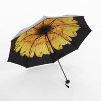 Wholesale Folding Parasol - 10 Colors Anti UV Sun Umbrella Women Three Folding Black Coating Parasols Flower Pattern Sunny And Rainy Umbrella Laides Paraguas