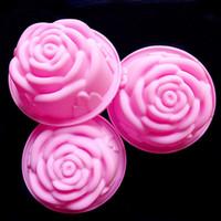 fondant de rosas al por mayor-Al por mayor-caliente 3D de silicona hermosa forma de Rose Fondant Cake Molds jabón del molde del chocolate para la cocina para hornear