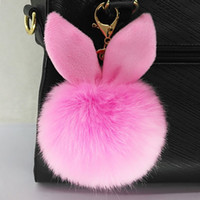 Wholesale 100pcs DHL New Design Doll Genuine Rabbit Ear Shape Fur ball Plush Key Chains Car Keychain Bag Pendant Fashion Accessories