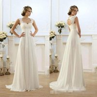 Wholesale Sweetheart Neck Line Bridal Gowns - 2017 Cheap Real Image A Line Bohemian Beach Wedding Dresses Cap Sleeves Sexy Open Back Floor Long White Chiffon Vintage Lace Bridal Gowns