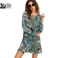 Wholesale Rayon Tunic Xl - Wholesale- SheIn Womens Vintage Short Dresses Boho Ladies Autumn Green Ornate Patchwork Print Tie Neck Long Sleeve Shift Tunic Dress