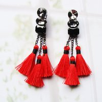 Wholesale Chandelier Thread - Wholesale new arrival fashion tassel earring cotton thread,hot sale glass stone beads jewelry for woman girl's gift  christmas wedding
