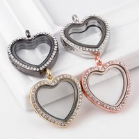 Wholesale Magnetic Lockets Wholesale - 30mm Heart Floating Locket Pendant with Silver Rhinestone Magnetic Memory Locket without Chain DIY Jewelry Mix Colors