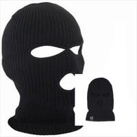 chapéu de inverno coberto rosto venda por atacado-Designer de Inverno Balaclava Para adultos das mulheres dos homens Ciclismo Esquiar Máscara Facial Com Furos Cobrindo Caps malha acrílico homem dos esportes Beanie Chapéus