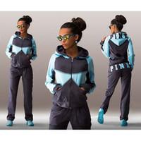 Wholesale Long Cardigans For Women Fashion - Fashion!! Sports Suit Jogging Suits For Women Letter vs Pink Print Sport Suit Hoodies Sweatshirt +Pant Jogging Sportswear Costume