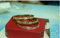 Wholesale 18k Gold Snake Ring - Top quality full with CZ diamond Brand Love Screw Bracelet Women cuff cater love bracelets Pulseira Feminina Masculin with original box