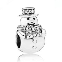 Wholesale Glass Beads Snowman - New 925 Sterling Silver Bead Charm Sparkling Christmas Snowman With Crystal Beads Fit Women Pandora Bracelet Bangle DIY Jewelry